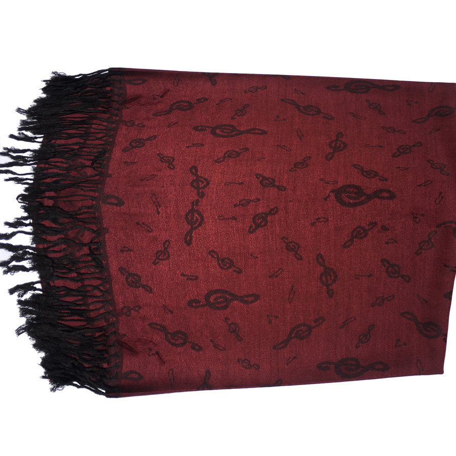 View larger image of Treble Clef Pashmina Scarf - Cabernet