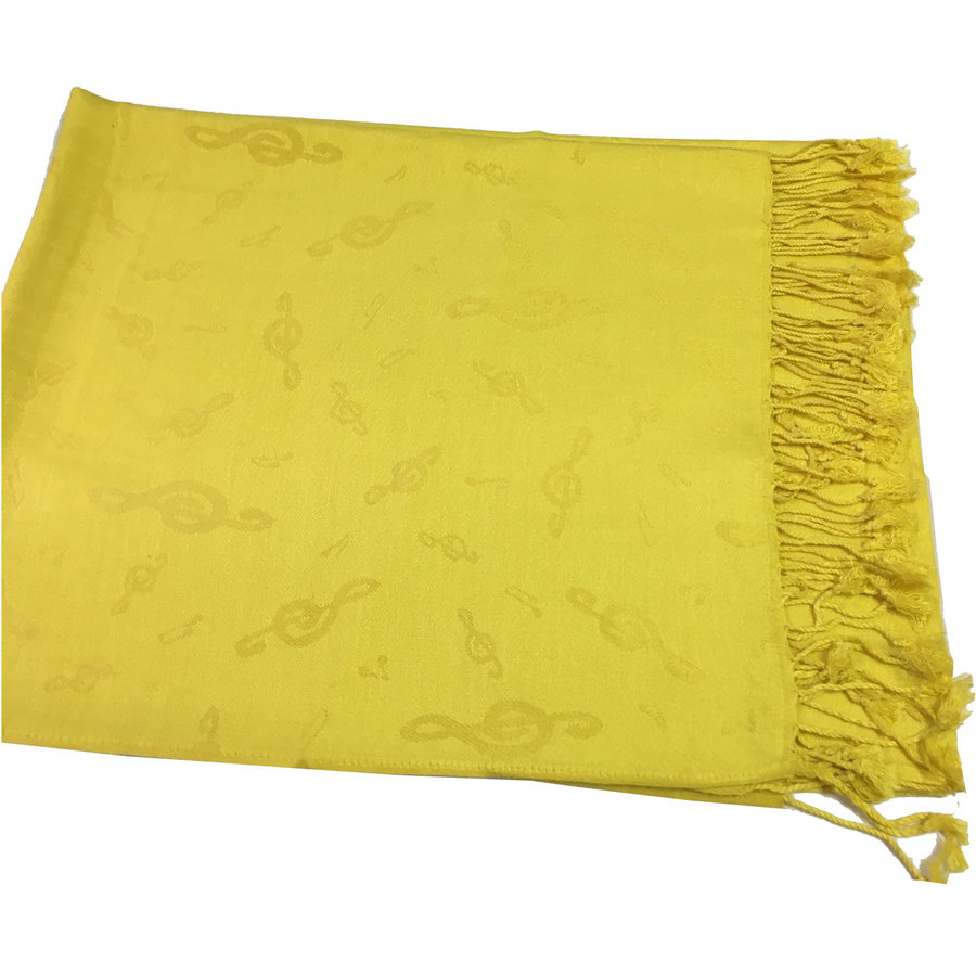 View larger image of Treble Clef Pashmina Scarf - Yellow