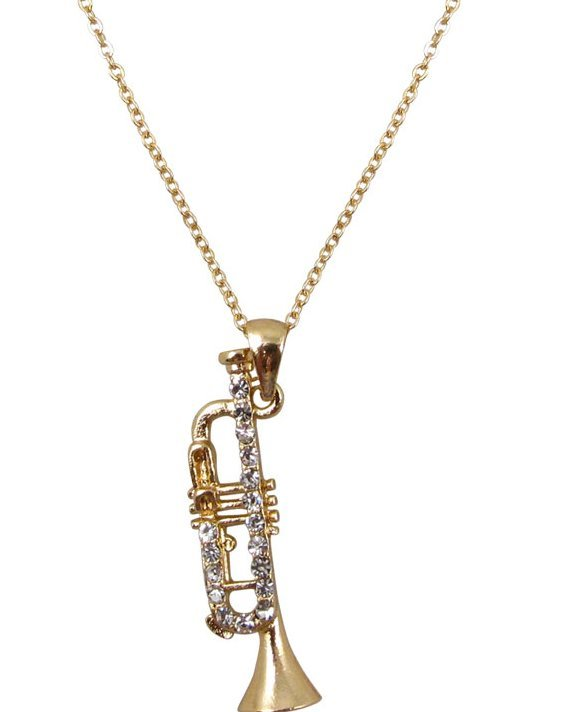 View larger image of Trumpet Necklace with Rhinestones - Gold