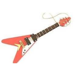 V Shaped Electric Guitar Ornament - Red, 5