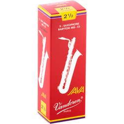 Vandoren Java Filed Red Cut Baritone Saxophone Reeds - #2.5, 5 Box
