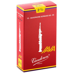 Vandoren Java Filed Red Cut Soprano Saxophone Reeds - #2.5, 10 Box