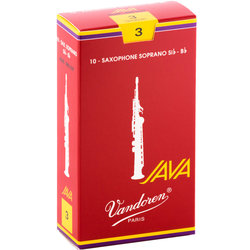 Vandoren Java Filed Red Cut Soprano Saxophone Reeds - #3, 10 Box