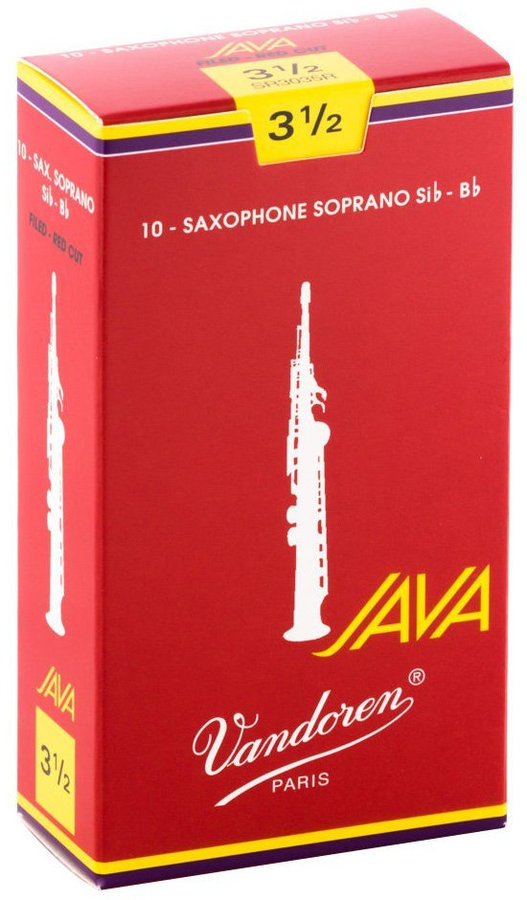 View larger image of Vandoren Java Filed Red Cut Soprano Saxophone Reeds - #3.5, 10 Box