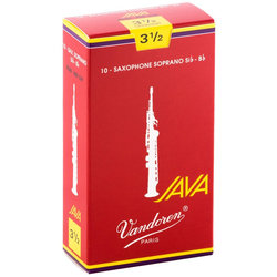 Vandoren Java Filed Red Cut Soprano Saxophone Reeds - #3.5, 10 Box