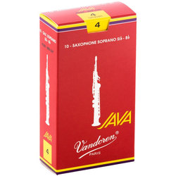 Vandoren Java Filed Red Cut Soprano Saxophone Reeds - #4, 10 Box