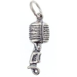 Vintage Microphone Sterling Silver Charm