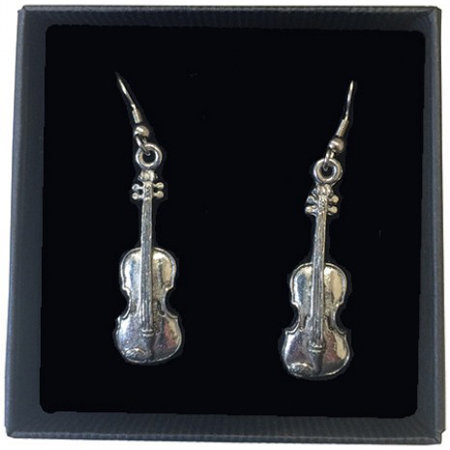 View larger image of Violin Earrings - Pewter