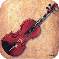 Violin Sheet Music Vinyl Coaster - Square