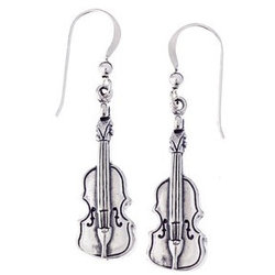 Violin Sterling Silver Earrings