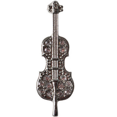 View larger image of Violin with Rhodium Silverstones Pin - Silver, 1-1/2