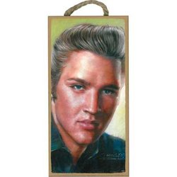 Wooden Sign Young Elvis - 5x10