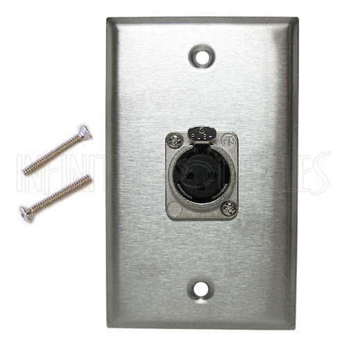 View larger image of XLR 1x Female Locking Wall Plate Kit - Stainless Steel - WPK-XLR-1FL