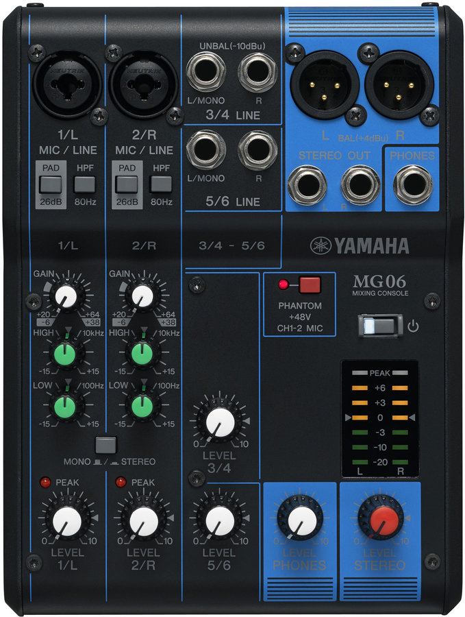 View larger image of Yamaha MG06 6-Channel Mixer