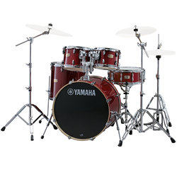 Yamaha Stage Custom Birch 5-Piece Drum Kit - 20/14SD/14FT/12/10, 600 Series Hardware, Cranberry Red