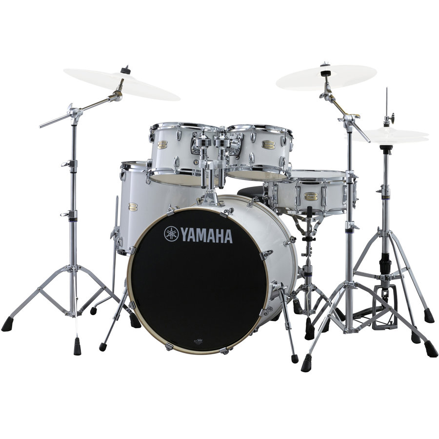 View larger image of Yamaha Stage Custom Birch 5-Piece Drum Set - 20/14SD/14FT/12/10, 600 Series Hardware, Pure White