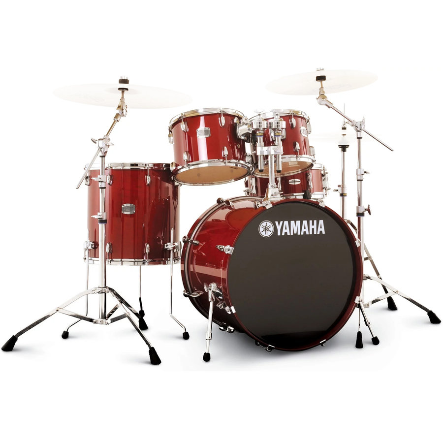 View larger image of Yamaha Stage Custom Birch 5-Piece Drum Set - 22/14SD/16FT/12/10, 700 Series Hardware, Cranberry Red