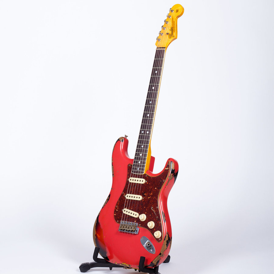 View larger image of Fender Custom Shop 60s Bound Neck Heavy Relic Stratocaster - Fiesta Red over 3-Tone Sunburst